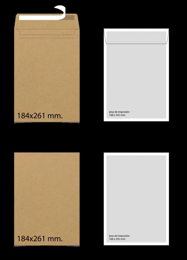 Sobre de papel Kraft 184x261