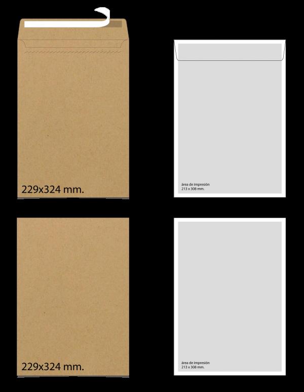 Sobre de papel Kraft 229x324