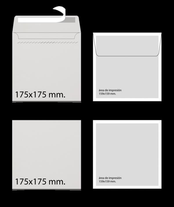 Sobre cuadrado en papel translúcido 175x175