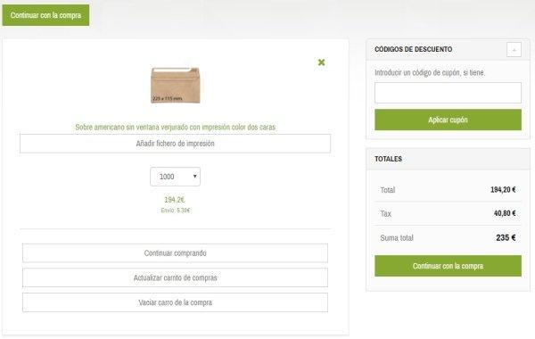cómo realizar un pedido de sobres impresos proceso de compra